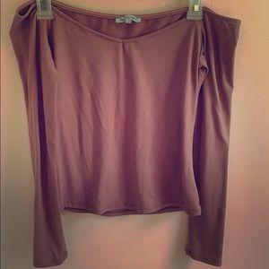 Off-shoulder long sleeve top